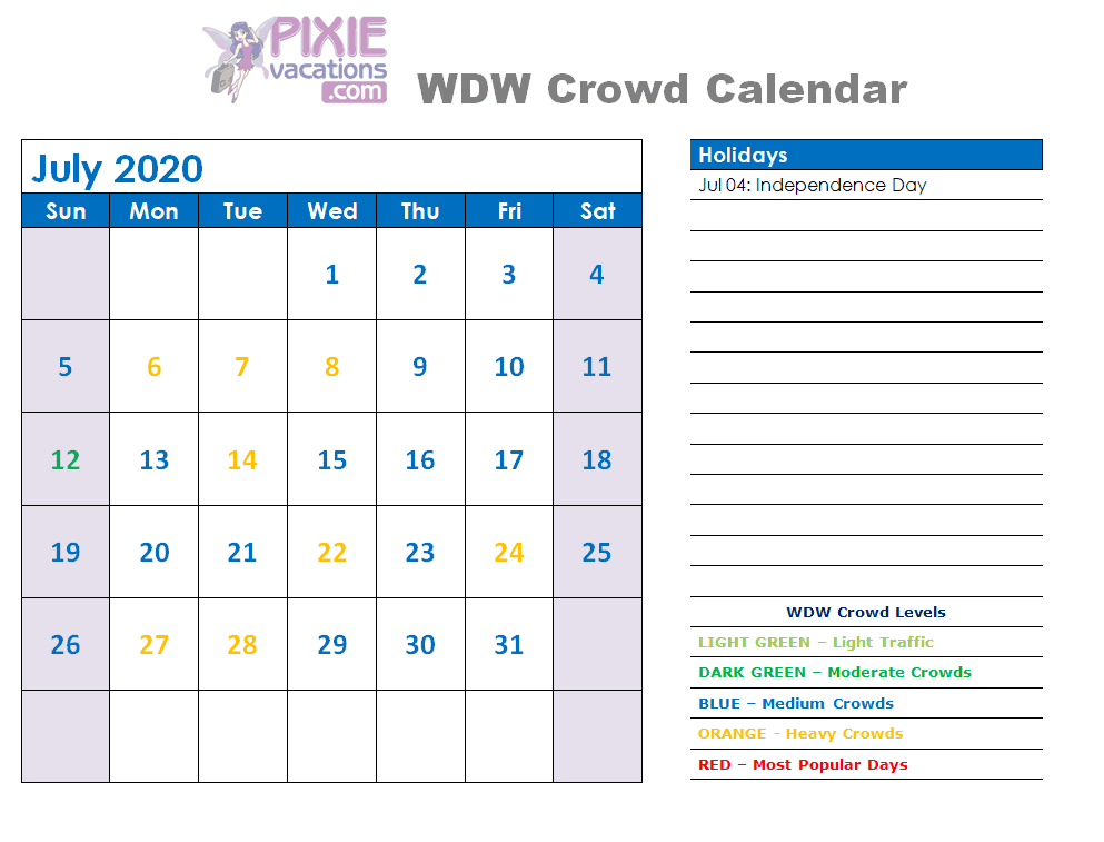 Disney Crowd Calendar July