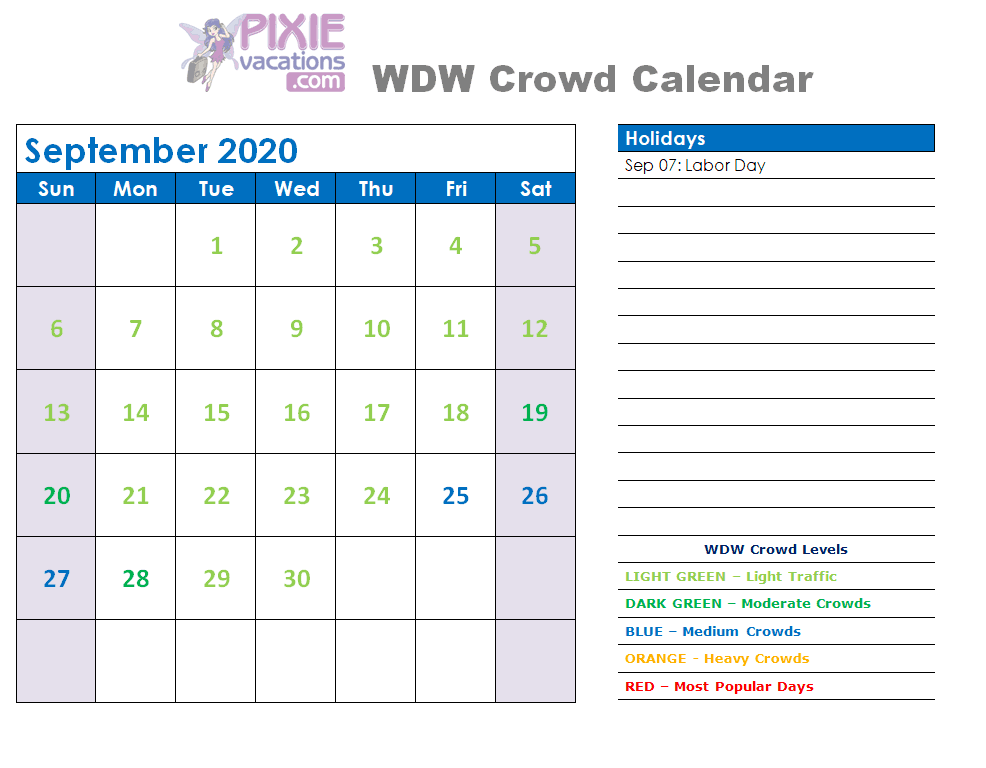 Disney Crowd Calendar September